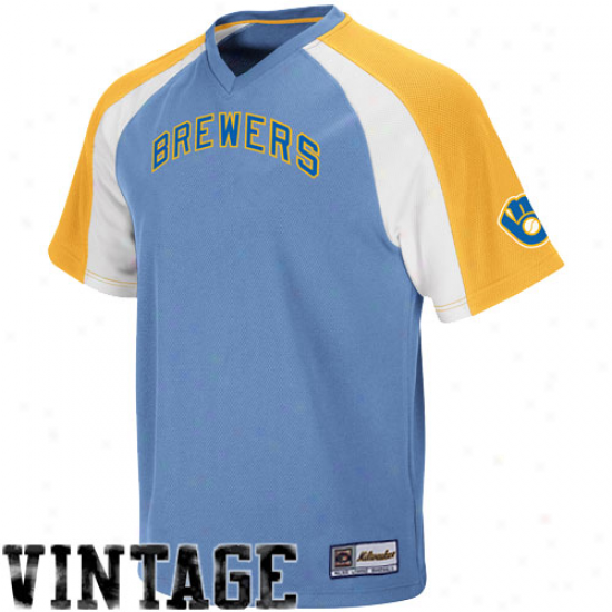 Majestic Milwaukee Brewers Cooperstown Pullover Jersey - Light Blue-gold