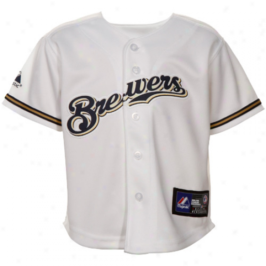 Majestic Milsaukee Brewers Babe Replica Jersey - White