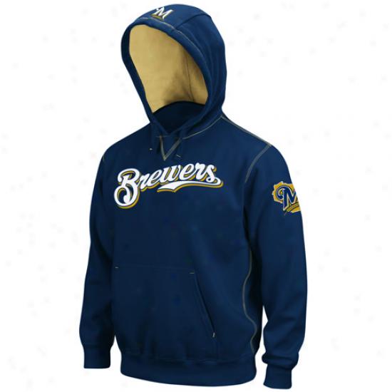 Majestic Milwaukee Brewers Navy Blue Golden Child Pullover Hoody Sweatshirt