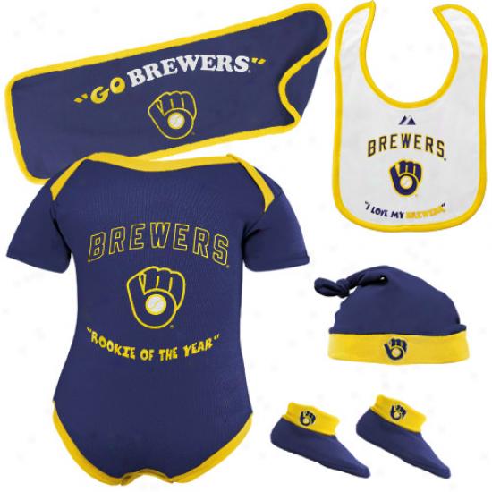 Majestic Milwaukee Brewers Newborn Navy Blue Rookie Of The Year 5-piece Creeper Set