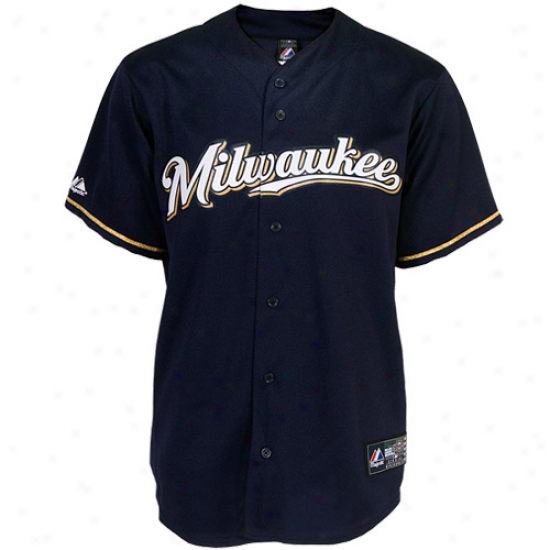 Majestic Milwaukee Brewers Replica Jersey-navy Blue
