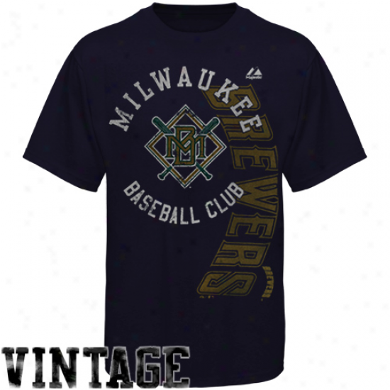 Majestic Milwaukee Brewers Violent Rookie Recent Fif T-shirt - Navy Blue
