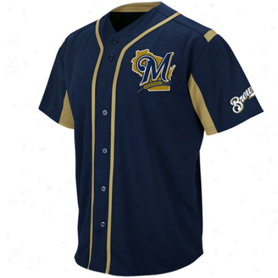 Majestic Milwaukee Brewers Youth Wind-up Jersey - Navy Blue
