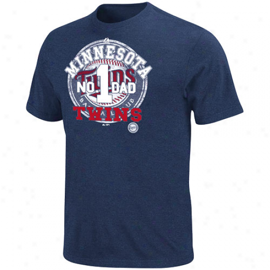 Majestic Minnesota Twins Dad's Momentous Pride T-shirt-navy Blue