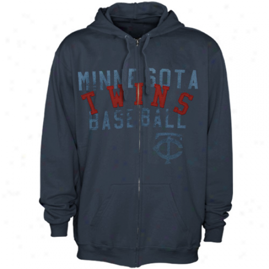 Majestic Minnesota Twins Navy Blue Fiery Fastball Full Zip Hoodie Sweatshirt