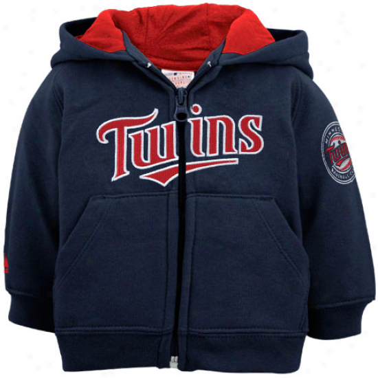 Majestic Minnesota Twins Newborn Navy Blue Full Zip Hoodie Sweatshirt