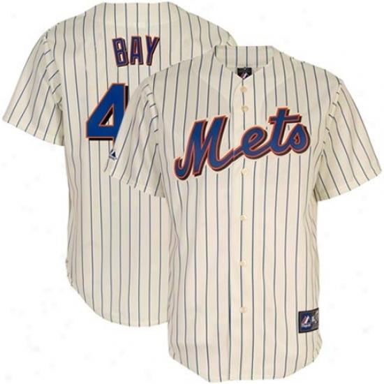 Majestic New York Mets #44 Jason Bay Natural Pinstripe Replica Baseball Player Jersey