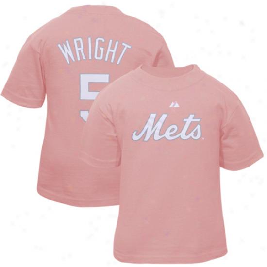 Majestic New York Mets #5 David Wright Toddler Girls Pink Plager T-shirt