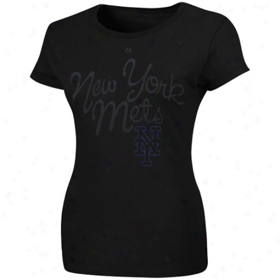 Majestic New York Mets Ladies Bottom Of The Ninth T-shirt - Blacj