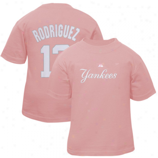 Majestic New York Yankees #13 Alex Rodriguez Toddler Girls Pink Player T-shirt