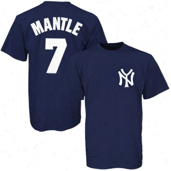 Majestic New York Yankees #7 Mickey Mantle Navy Blue Cooperstown Vintage Pr T-shirt