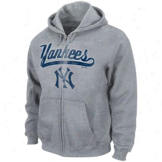 Majestic New York Yankees Ash Big Club Filled Zip Hoody Sweatshirt