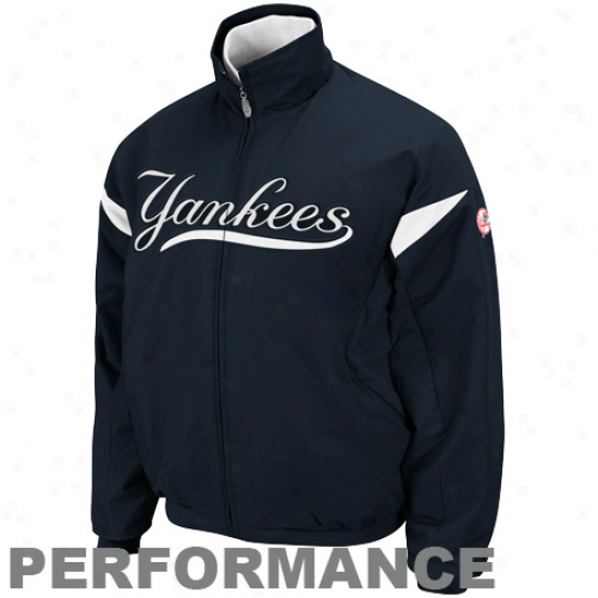 Majestic New York Yankees Navy Blue-white Therma Base Triple Peak Premier Full Zip Jacket