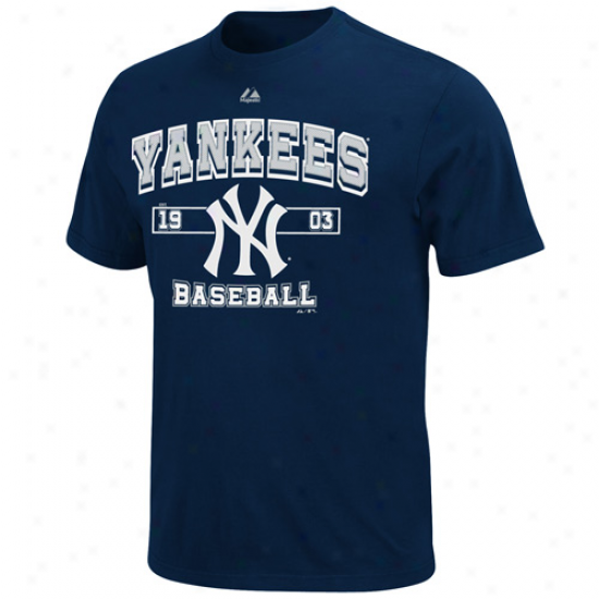 Majestic New York Yankees Youth Past Time Original T-shirt - Navy Blue