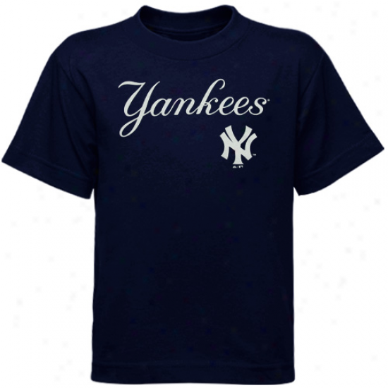 Majestic New York Yankees Youth Wordmark T-shirt - Navy Blue