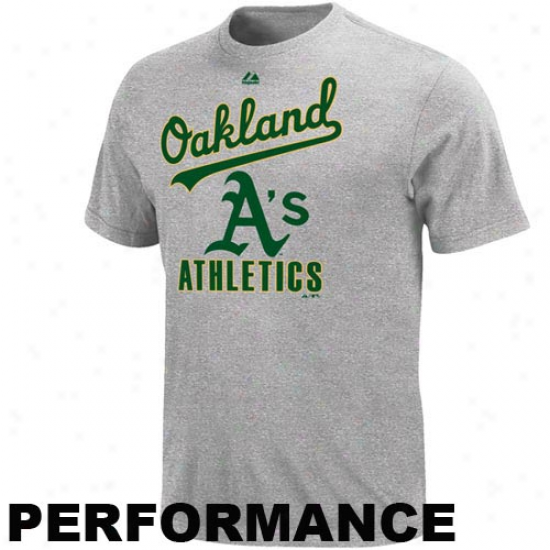 Majestic Oakland Athletics Performwnce Fan T-shirt - Ash