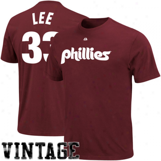 Majestic Philadelphia Phillies #33 Cliff Lee Maroon Player Name & Number Throwback T-shirt