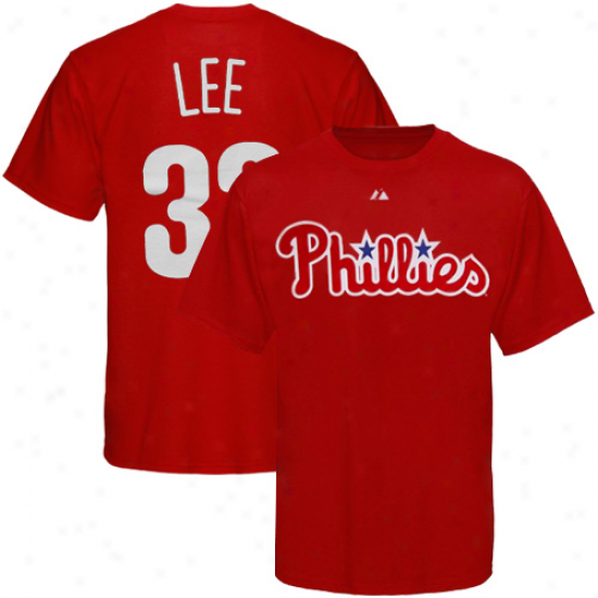 Majestic Philadelphia Phiplies #33 Cliff Lee Youth Red Player Name & Number T-shirt