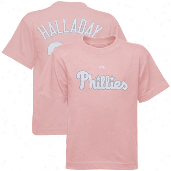 Majestic Philadelphia Phillies #34 Roy Halladay Light Blue Coo0ers5own Retro Player T-shirt