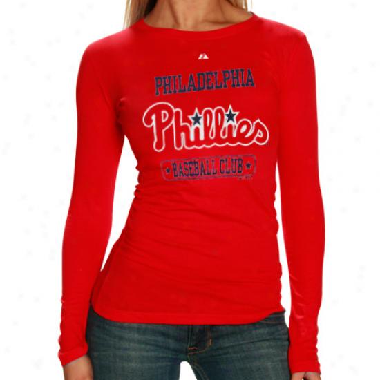 Elevated Philadelphia Phillies Ladies Red Hot Corner Slow Sleeve T-shirt