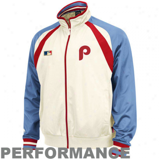Majestic Philadelphia Phillies Natural-light Blue Cooperstown Performancw Track Jacket