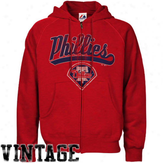 Majestic Philadelphia Phillies Red Big Contribute Full Zip Hoodie Sweatshirt