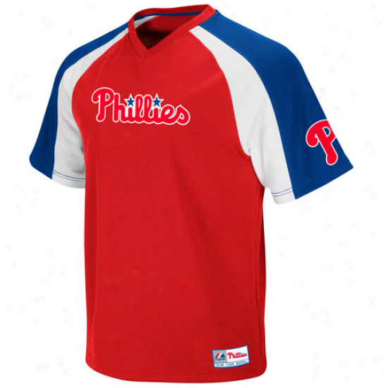Majestic Philadelphia Phillies Youth Cruaader Pullover Jersey - Red-royal Blue