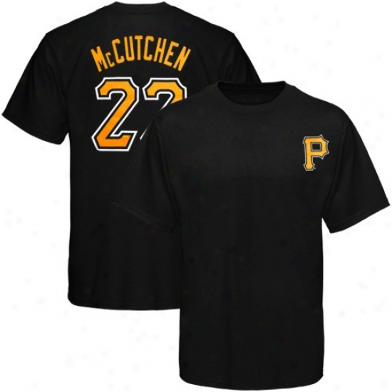 Majestic Pittsburgh Pirates #22 Andrew Mccutchen Youth Black Player T-shirt