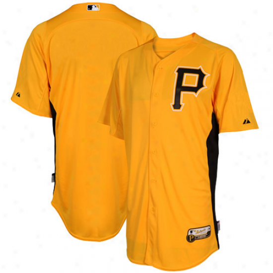 Majestic Pittsburgh Pirates Batting Practice Performance Jersey - Gold-black