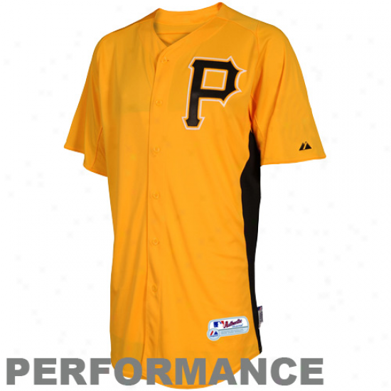 Majestic Pittsburgh Pitates Youth Batting Practice Performance Jersey - Gold-black