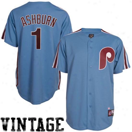 Majestic Richie Ashburn Philadelphia Phillies Replica Cooperstown Throwback Jersey - Gossamery Blue