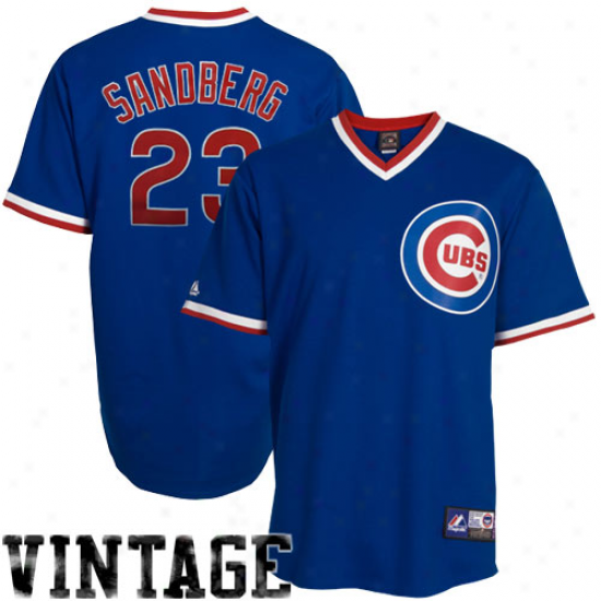 Majestic Ryne Sandberg Chicago Cubs Replica Throwback Jersey - Royal Blue