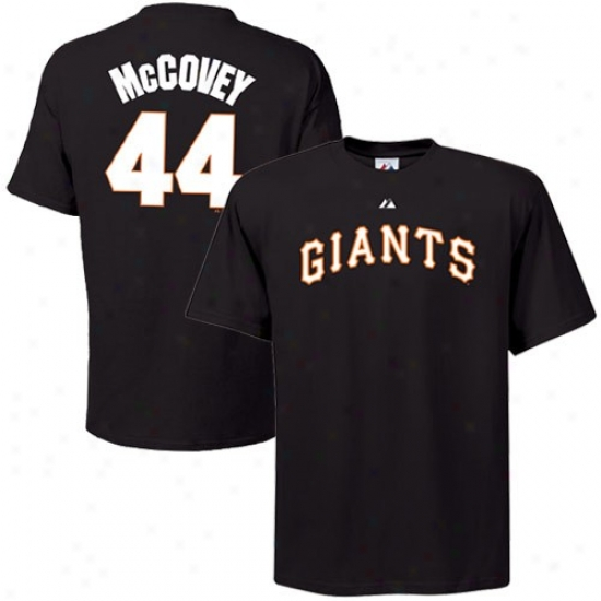 August San Francisco Giants #44 Willie Mccovey Black Cooperstown Player T-shirt