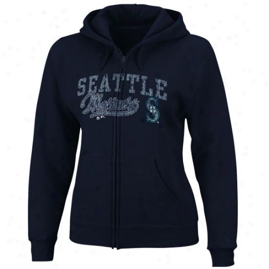 Majestic Seattle Mariners Ladies Navy Blue Bezuty Entire extent Zip Hoody
