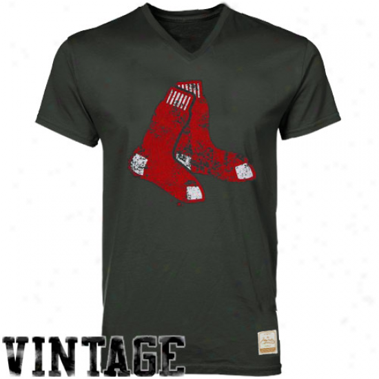 Majestic Select Boston Red Sox Charcoal Offical Logo Premium V-neck T-shirt