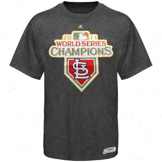 Majestic St. Louis Cardinals 2011 World Series Champions Logo T-shirt - Charcoal