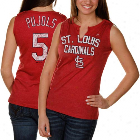 Majestic St. Louis Cardinals #5 Albeft Pujols Ladies Red Hey Batter Heathered Split-neck Tank Top