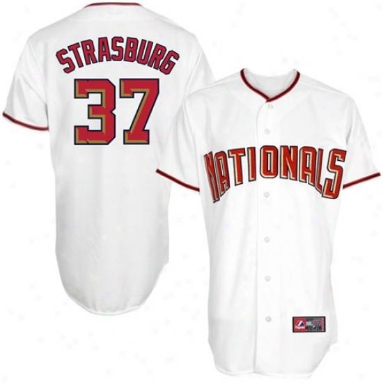 Majestic Stephen Strasburg Washington Nationals Youth Rep1ica Jersey-white