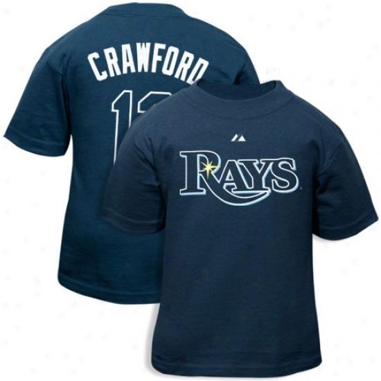 Manestic Tampa Bay Rays #13 Carl Crawford Toddler Ships Blue Player T-shirt