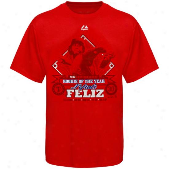 Majestic Texss Rangers #30 Neftali Feli2 Red 2010 Rookie Of The Year T-shirt