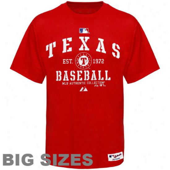 Majestic Texas Rangers Classic Big Sizes T-shirt - Red