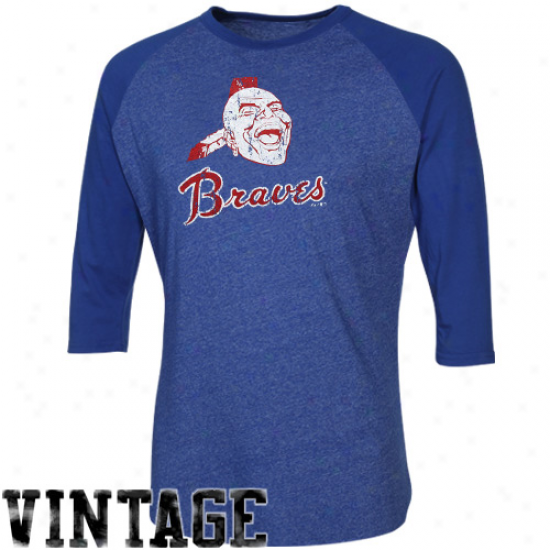 Majestic Threads Atlanta Braves Cooperstown Grand Slam Premium Three-quarter Sleeve Tri-blend Raglan T-shirt - Royal Bluee