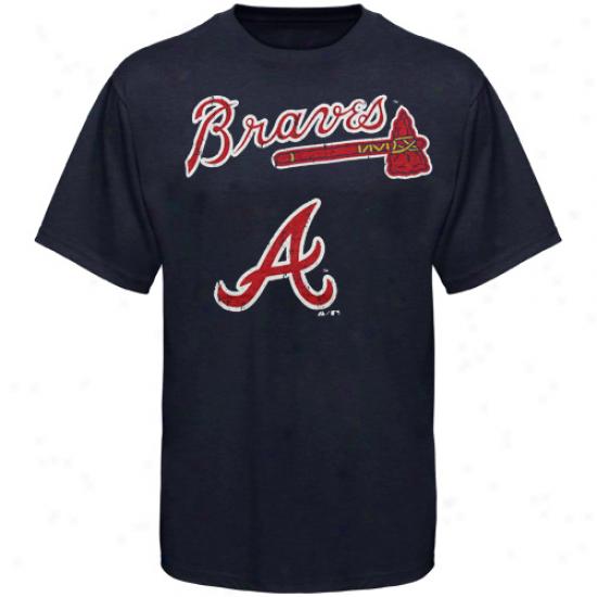 Majestic Threads Atlanta Braves Enthusiast Premium Tri-blend Heathered T-shirt - Navy Blue