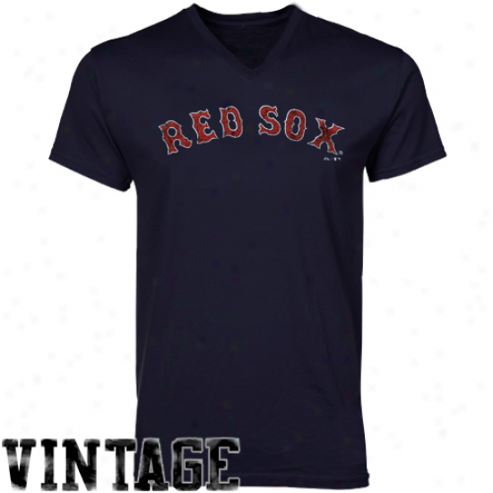 Majestic Threads Boston Red Sox Cooperstown Premium V-neck T-shirt - Navy Blue