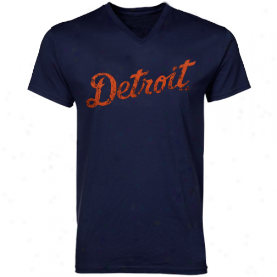 Majestic Threads Detroit Tigers Cooperstown Premium V-neck T-shirt - Navy Blue