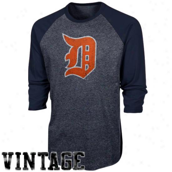 Majestic Threads Detroit Tigers Cooperstown Three-quarter Sleeve Premium Raglan T-shirt - Ships Pedantic
