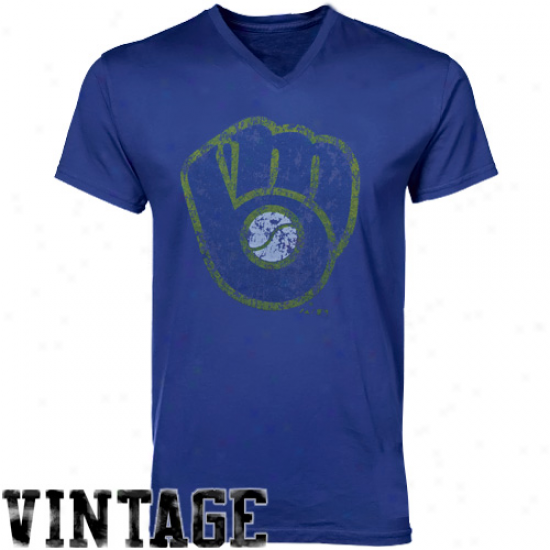 Majestic Threads Milwaukee Brewers Colperstown V-neck T-shirt - Royal Blue