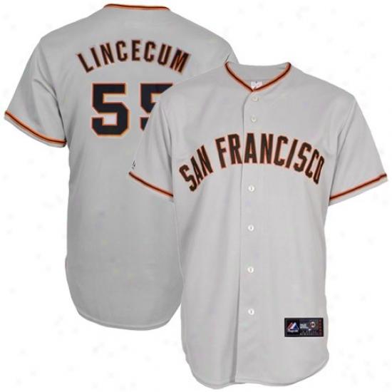 Majestic Tim Lincecum San Francisco Giants Jersey-#55 Gray