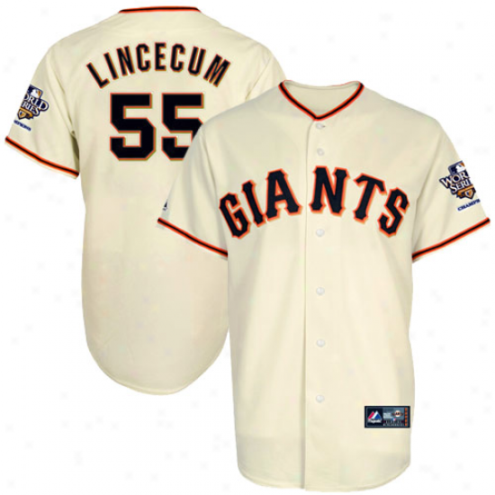 Mjestic Tim Lincceum San Francisco Giants Youth 201O World Series Champions Jersey-natural