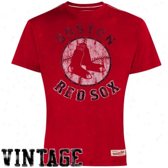 Mitchell & Ness Boston Red Sox Red Retro Cooperstown Premium T-shirt